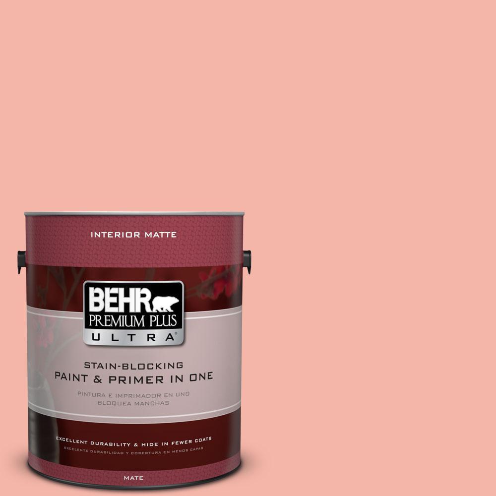 BEHR Premium Plus Ultra 1 gal. #P180-3 Pink Mimosa Matte Interior Paint