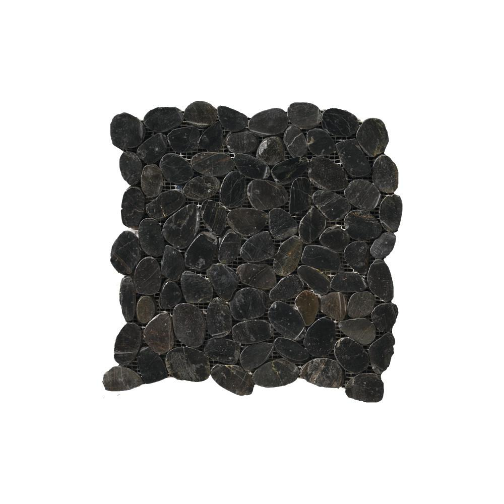 Rivera Pebbles Black Honed 12.01 in. x 12.01 in. x 11