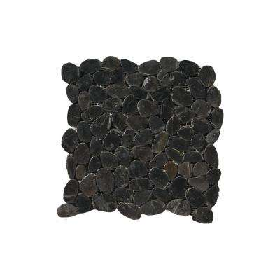 Rivera Pebbles Black Honed 12.01 in. x 12.01 in. x 11 mm Pebbles Mesh-Mounted Mosaic Tile