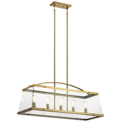 Darton 5-Light Brushed Natural Brass Linear Chandelier with Clear Glass Shade