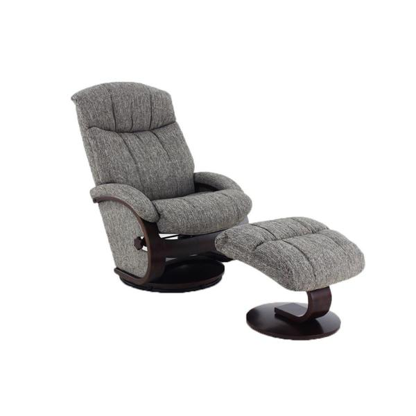 Mac Motion Chairs Oslo Collection Alta Teatro Graphite Fabric Recliner with Ottoman