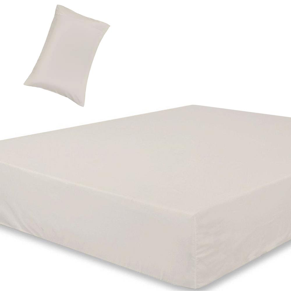A1 Home Collections Wrinkle Resistant Extra Deep Pockets 2 Piece Cream 300tc Organic Cotton Twin Ed Sheet Set Fts01 The Depot