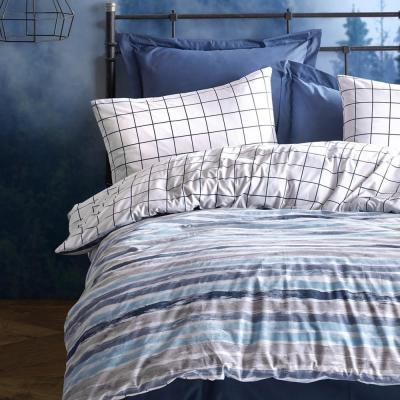 Off White Stripes Duvet Cover Set : Blue, Queen Size Duvet Cover, 1 Duvet Cover, 1 Fitted Sheet and 2 Pillowcases