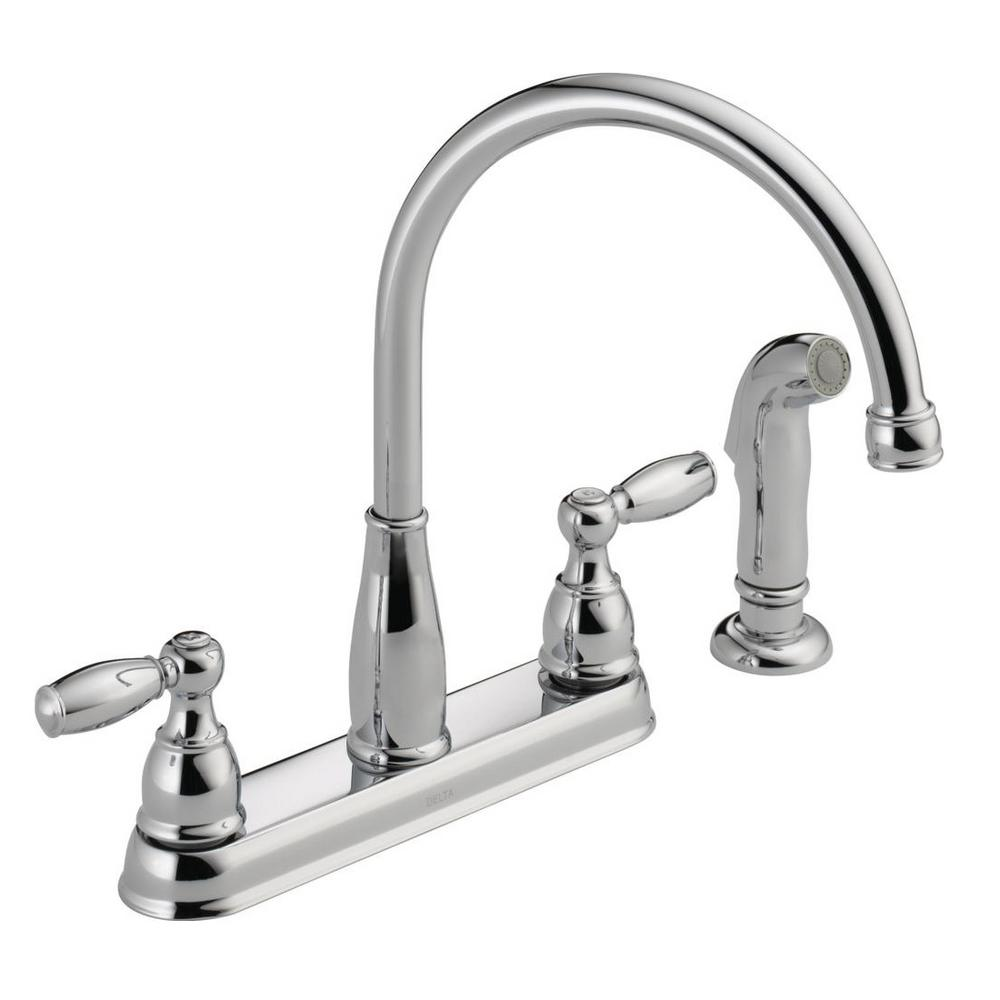 Delta foundations 2 handle standard kitchen faucet with side sprayer in chrome
