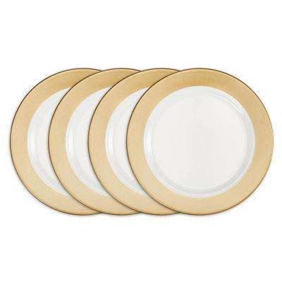 Moonbeam 4-Piece Gold Melamine 10.5 in. Ring Dinner Plate Set