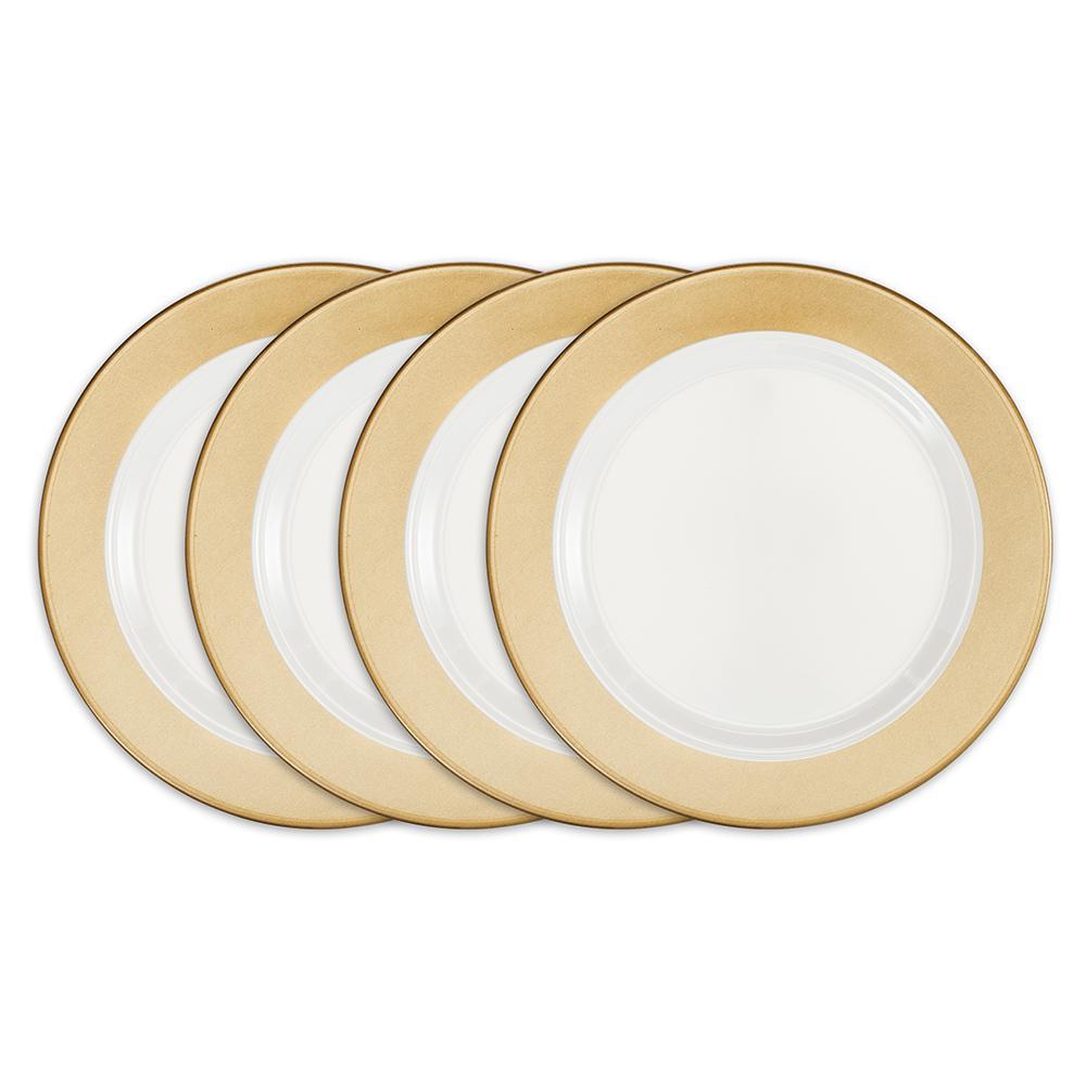 Moonbeam 4-Piece Gold Melamine 10.5 in. Ring Dinner Plate Set