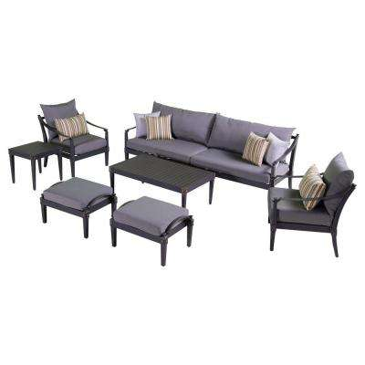 Astoria 8-Piece Patio Sofa and Club Chair Deep Seating Set with Charcoal Grey Cushions