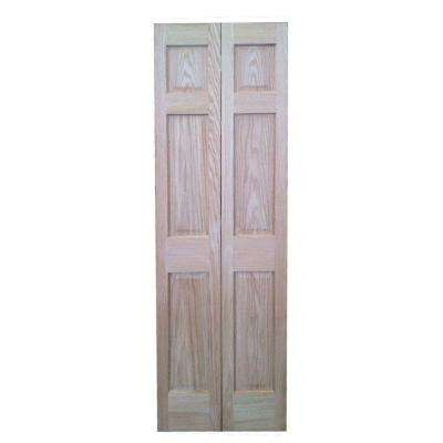 30 in. x 80 in. 6-Panel Hollow Core Oak Interior Closet Bi-fold Door