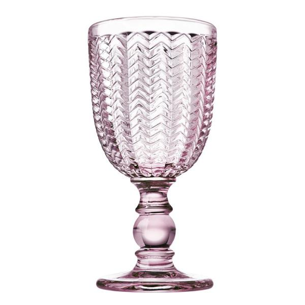 Godinger Twill 10 oz. Pink Crystal Goblets (Set of 4) 44661