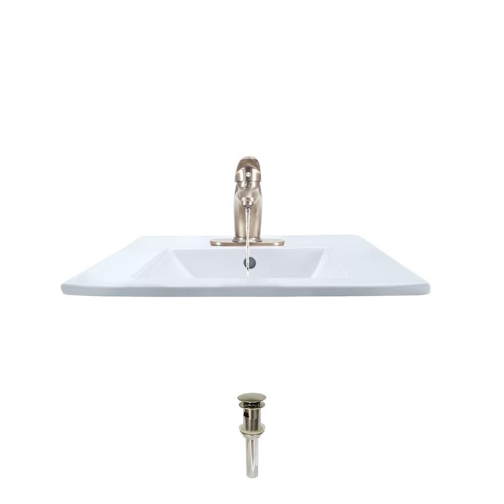 MR Direct Porcelain Vessel Sink in White with 722 Faucet and Pop-Up Drain in Brushed Nickel