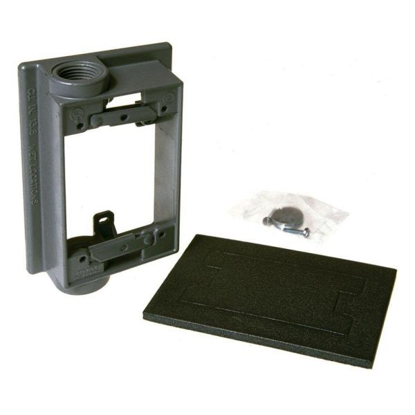 1 Gang Weatherproof Swing Arm Extension Adapter with Two 1/2 in. Outlets
