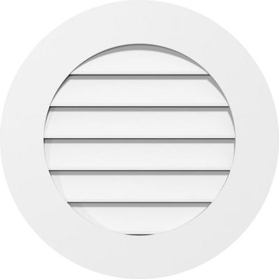 """24"""" x 24"""" Round Surface Mount PVC Gable Vent: Functional with Standard Frame"""
