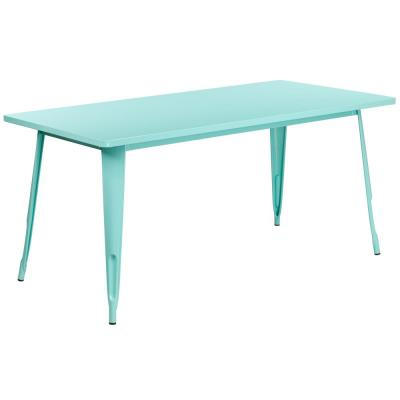 Mint Green Rectangle Metal Outdoor Bistro Table