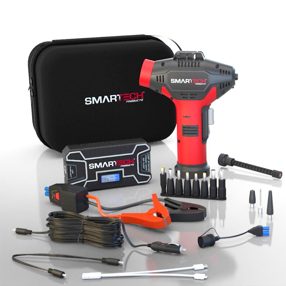 Smartech Products Power Kit TECH-5000P Vehicle Jump Starter and Power Bank  with Accessories + Air Compressor + Carrying Case