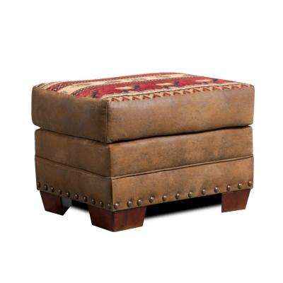 Sierra Lodge Rustic Tapestry Ottoman with Nail Head Accents