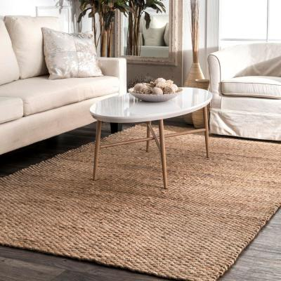 Hailey Farmhouse Solid Jute Tan 8 ft. x 10 ft. Area Rug