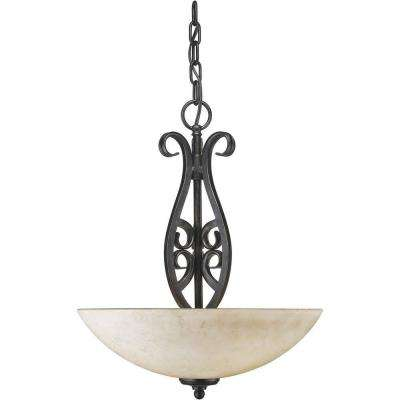 Burton 3-Light Bordeaux Incandescent Pendant