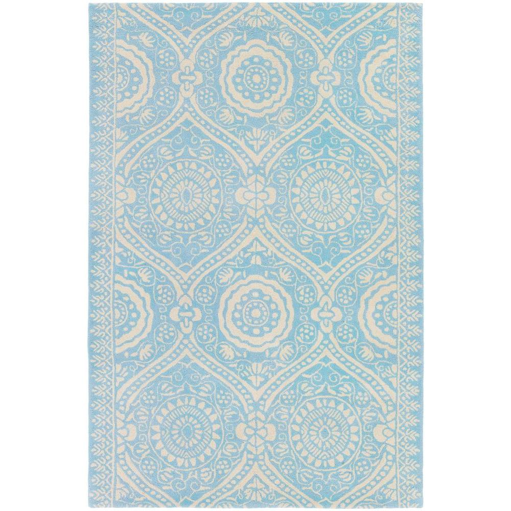 Chandra Amy Butler Blue/Cream 7 ft. 9 in. x 10 ft. 6 in. Indoor Area Rug