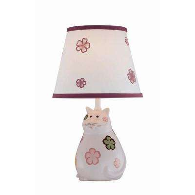 Designer Collection 17 in. Kitty Ceramic Table Lamp with White Fabric Shade