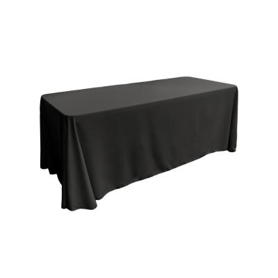 90 in. x 132 in. Black Polyester Poplin Rectangular Tablecloth