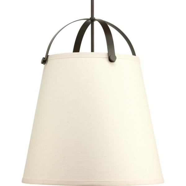 Galley Collection 3-Light Antique Bronze Pendant with Linen Shade