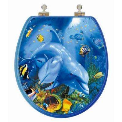 3D Ocean Series Round Closed Front Toilet Seat in Blue