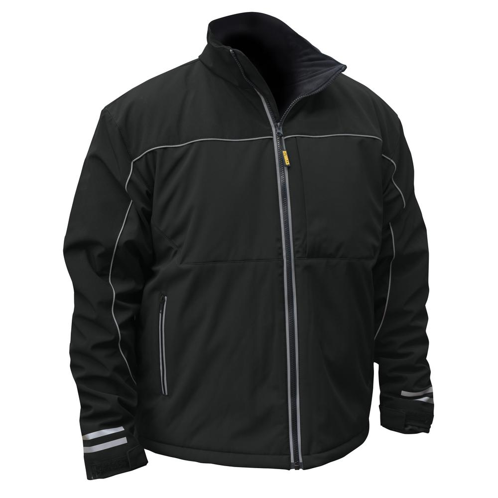 Mens Large Black Soft Shell Heated Jacket with 20-Volt/2.0 Ah Battery