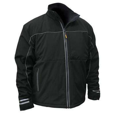 Mens Large Black Soft Shell Heated Jacket with 20-Volt/2.0 Ah Battery and Charger