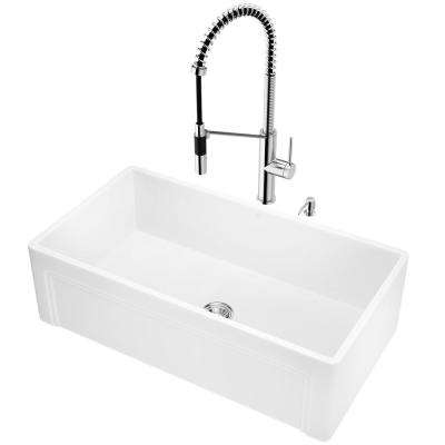 All-in-One Farmhouse Apron Front Matte Stone 33 in. Single Bowl Kitchen Sink and Faucet Set in Chrome