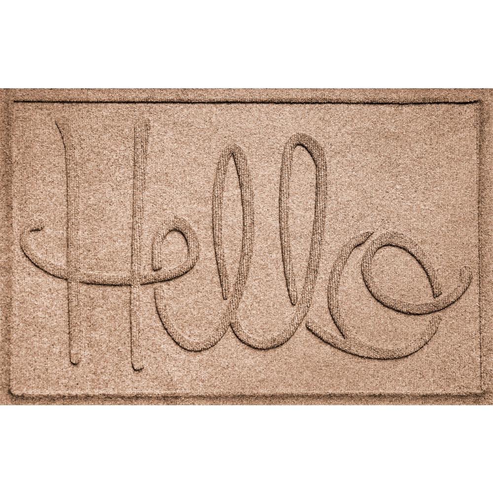 Simple Hello Medium Brown 24 in. x 36 in. Polypropylene Door Mat
