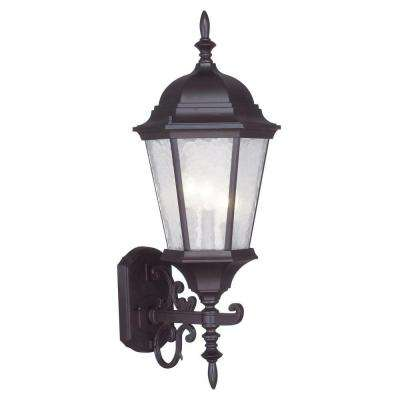 Providence 3-Light Bronze Outdoor Wall Lantern Sconce with Clear Water Glass