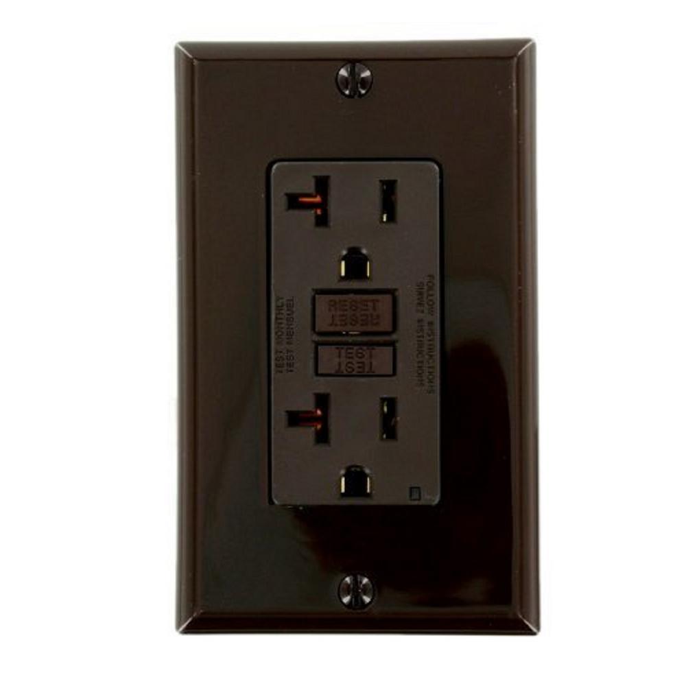 20 Amp Self-Test SmartlockPro Slim Duplex GFCI Outlet, Brown