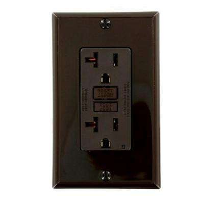 20 Amp Self-Test SmartlockPro Slim Duplex GFCI Outlet, Brown