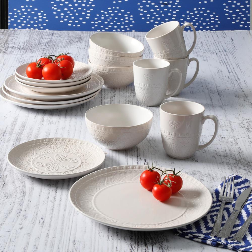 Elite Milanto 16-Piece Traditional Cream Stoneware Dinnerware Set (Service for 4)