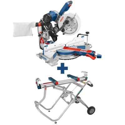 15 Amp Corded 10 in. Dual-Bevel Sliding Glide Miter Saw with 60-Tooth Saw Blade and Bonus Gravity Rise Stand with Wheels