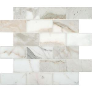 Msi Calacatta Gold 12 In X 10 Mm Polished Marble Mesh Mounted Mosaic Tile Smot Calagold 2x4p The Home Depot