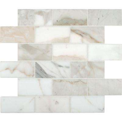 Calacatta Gold 12 in. x 12 in. Polished Marble Mesh-Mounted Mosaic Tile