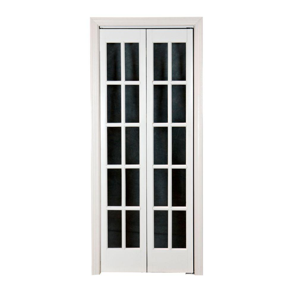 Pinecroft 36 in. x 80 in. Classic French Glass Wood Universal/Reversible Interior Bi-fold Door