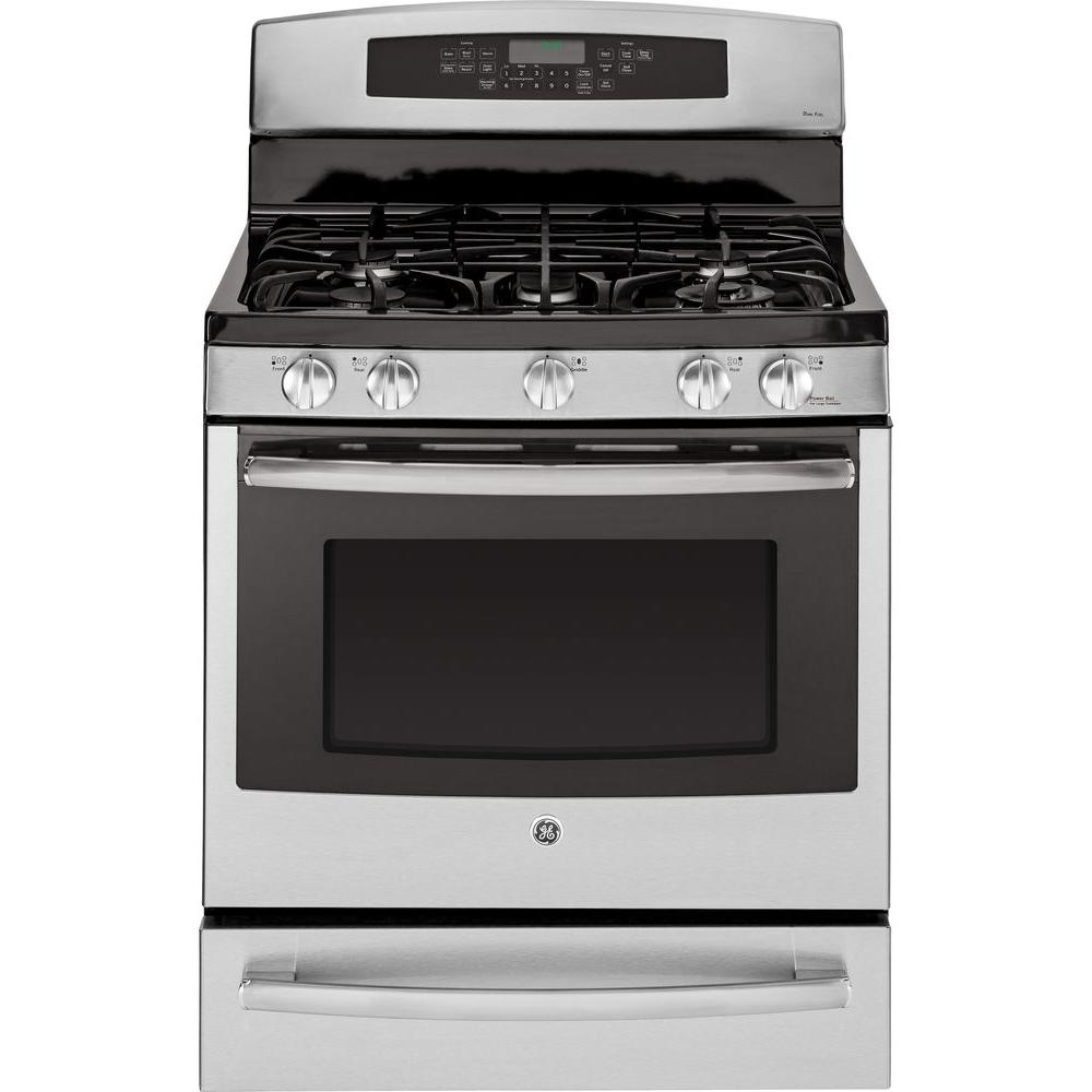 GE Profile 5.6 cu. ft. Dual Fuel Range with Self-Cleaning Convection Oven in Stainless Steel