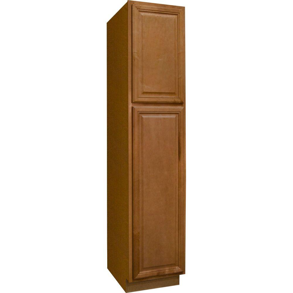 Hampton bay cambria assembled 18 x 84 x 24 in pantry utility kitchen cabinet in harvest kp1884 - Bathroom pantry cabinets ...