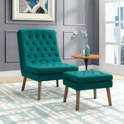 Modify Upholstered Lounge Chair and Ottoman in Teal