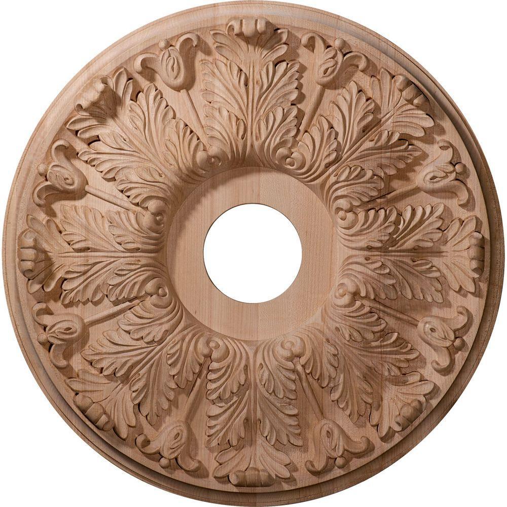 16 in. Unfinished Red Oak Carved Florentine Ceiling Medallion