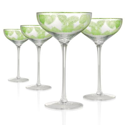 Tropical Leaves 10 oz. 4-Piece Coupe Champagne Set