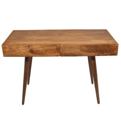 Brown Mango Wood Writing Desk with 2-Drawers and Tapered Legs