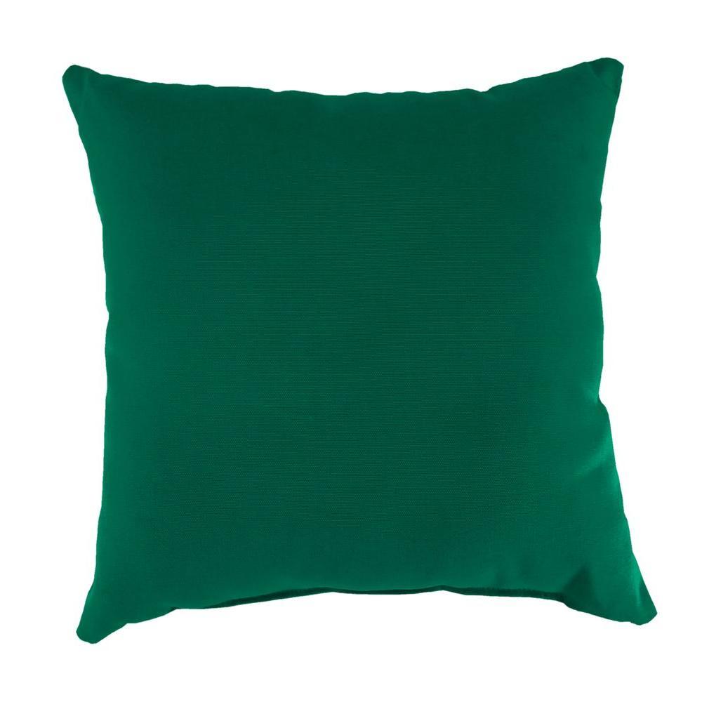 Jordan Manufacturing Sunbrella Canvas Forest Green Square Outdoor Throw  Pillow