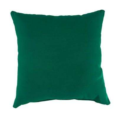 Sunbrella Canvas Forest Green Square Outdoor Throw Pillow