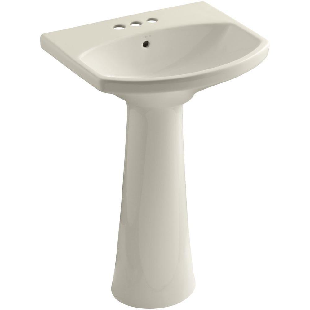 Cimarron 4 in. Centerset Vitreous China Pedestal Combo Bathroom Sink in