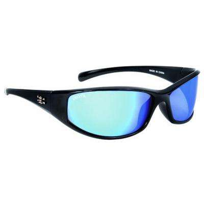 Black Frame Carolina Sunglasses with Blue Mirror Lenses