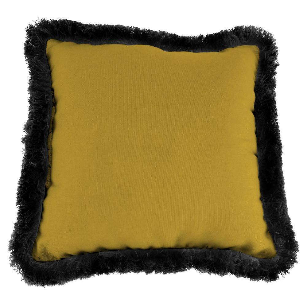 Sunbrella Canvas Maize Square Outdoor Throw Pillow with Black Fringe
