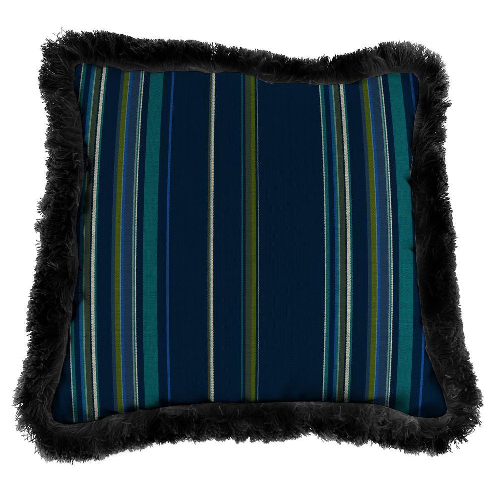 Sunbrella Stanton Lagoon Square Outdoor Throw Pillow with Black Fringe